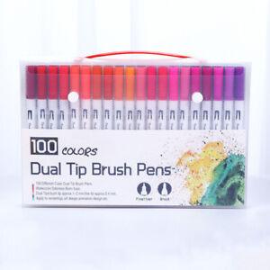 100pcs-Dual-Tip-Brush-Markers-Paint-Drawing-Art-Pens-Watercolor-Set-12-24-36-48