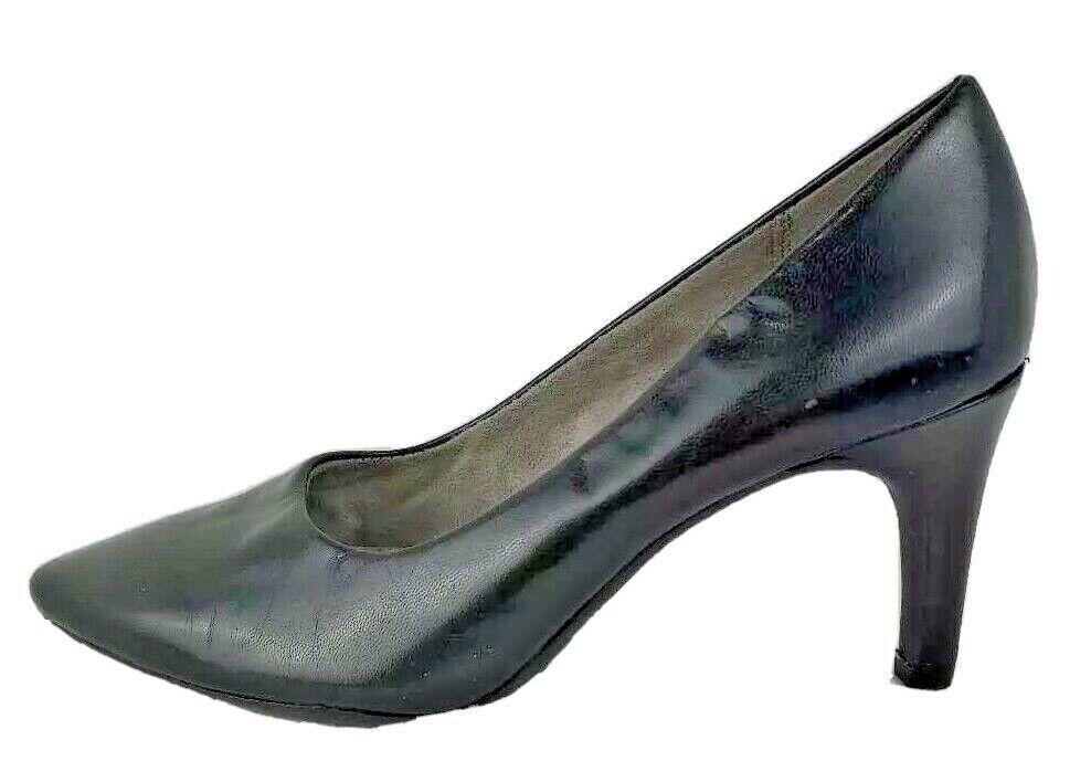 Aerosoles Heelrest Womens Pump Slim Heel Shoes Black Leather Slip Ons 6.5 M