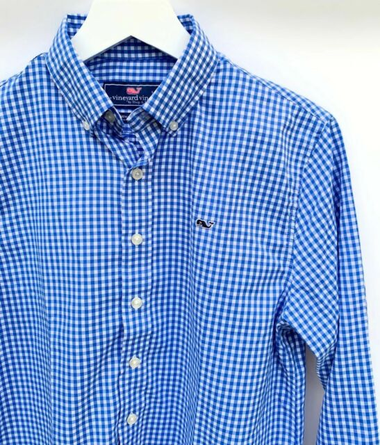 NWT Vineyard Vines Boys Whale Shirt Carleton Gingham Blue Size 4T $59.50 Auth