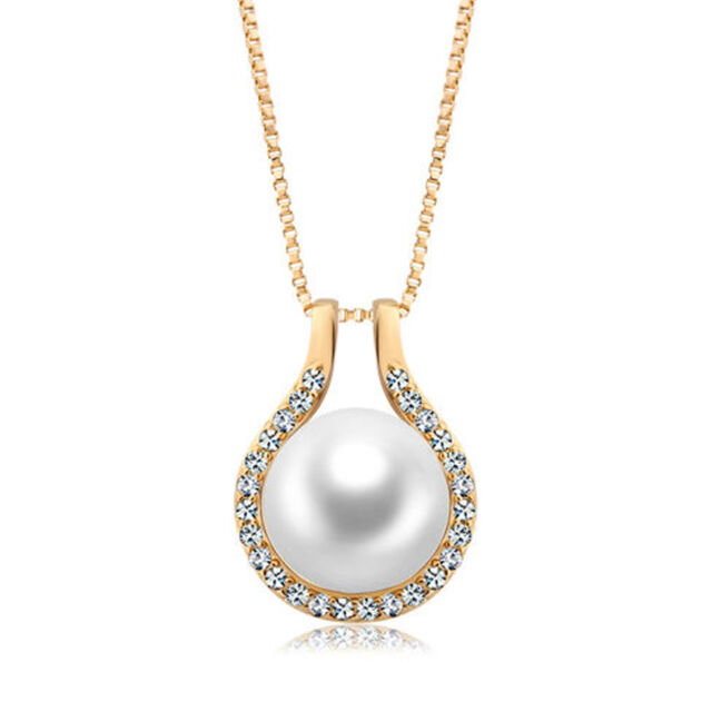 18k gold 925 sterling silver swarovski crystals pearl pendant 18k gold 925 sterling silver with swarovski crystal pearl pendant necklace italy aloadofball Gallery