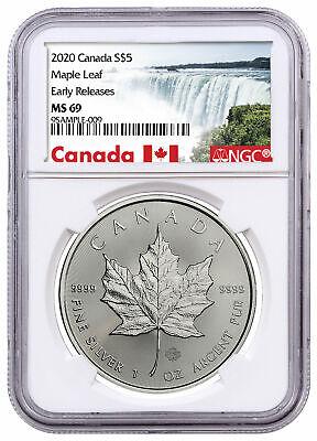 2020 W Canada 1 oz Burnished Silver Maple Leaf $5 NGC MS69 FR W//COA SKU59502