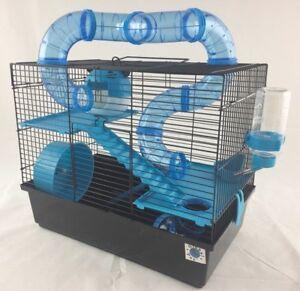 Petite cage pour animaux de compagnie grand hamster nain Bernie à 3 étages avec tubes - bleu ou rose bleu, rose