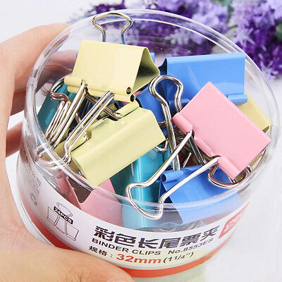 Lot 10PCS Office Study Family Tools Paper Color Long Tail Clip Stationery Folder