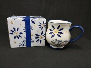 Temp-Tations By Tara Blue Floral 16 oz Mug Cup Stoneware Ovenware w/ Gift Box