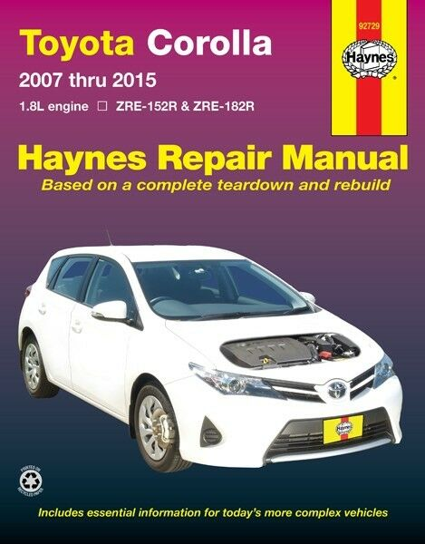 haynes workshop service repair manual toyota corolla 2007 2015 zre rh ebay com 2007 toyota corolla service manual free download 2007 toyota corolla service manual free download
