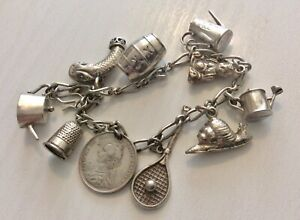 Nice-Old-Early-Vintage-Silver-Charm-Bracelet-with-Interesting-Charms