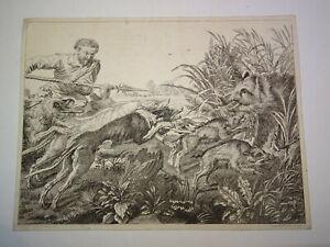 Louis-Claude-LEGRAND-1723-1807-Gravure-XVIII-CHASSE-CHIEN-SANGLIER-RUBENS-1780