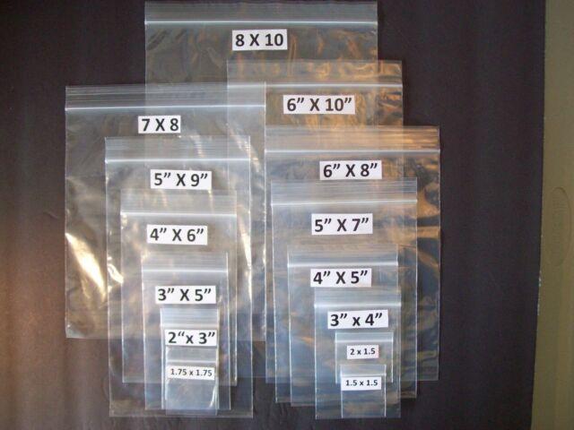 """ZipLock Plastic Bags 2 mil Jewelry 1.5""""x1.5"""", 1.75""""x1.75"""", 2""""x1.5"""", 2""""x3"""", 3""""x4"""""""