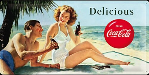 Coca Cola Delicious na beach large embossed metal sign  500mm x 250mm