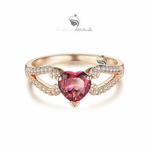 18K-Rose-Gold-Plated-women-039-s-wedding-Ring-Simulated-Diamond-Heart-pink