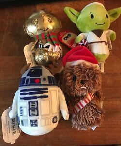 Hallmark-Itty-Bitty-2015-Star-Wars-Holiday-Set-4-Mini-Plush-Doll-Chewie-R2-D2