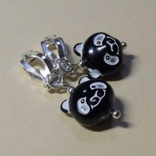 Orejas kinderohrclips delgada oso bärenkopf negro blanco