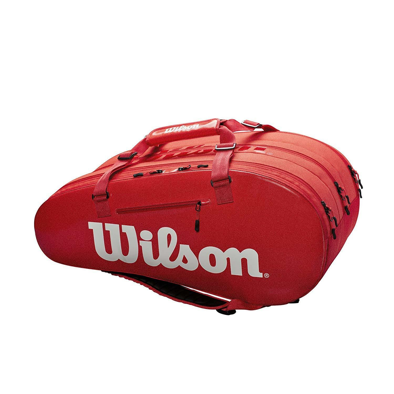 Wilson-WRZ840815-Super Tour 3 Compartimiento Bolso De Tenis-Rojo blancooo