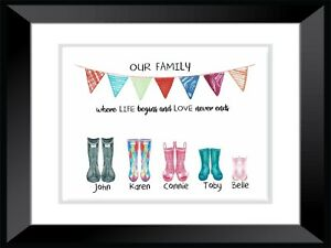 A4 Personalised FAMILY HOME Welly Boots Wall Art PRINT ONLY / CHRISTMAS GIFT