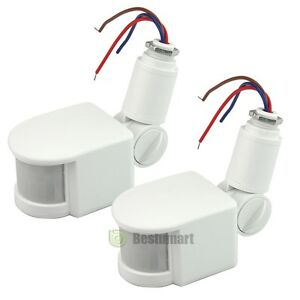 2x 180° 12M Outdoor LED Security PIR Infrared Motion Sensor Detector Wall Light