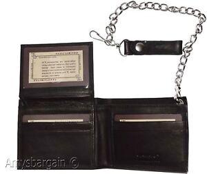 men-039-s-genuine-leather-bifold-chain-wallet-motorcycle-trucker-biker-Black-wallet