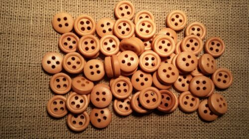20 round wooden Buttons 9mm plain  brown sewing crafts traditional natural