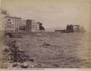 Napoli-Castel-Dell-039-Ovo-Italia-Vintage-Albumina-Ca-1880