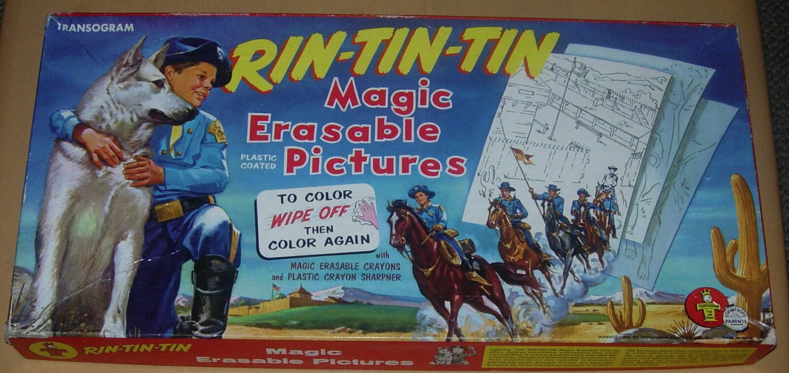 TRANSOGRAM  RIN-TIN-TIN  MAGIC ERASABLE PICTURES  BOXED  1957  RIN TIN TIN