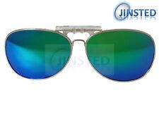 Revo Green Blue Mirrored Aviator Polarised Polarized Clip On Sunglasses ACP017