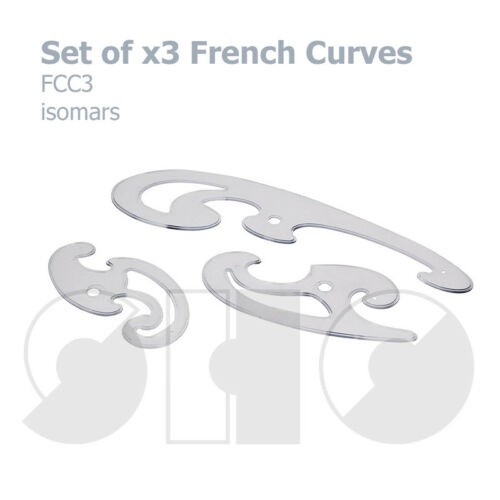 Set of 3 FRENCH CURVES by isomaris Plastic drawing stencil Quality