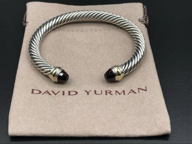 David Yurman Sterling Silver & 14K Gold With Garnet 7mm Cable Classic Bracelet