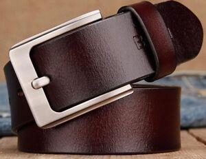 Details about Man Belts Jeans Simple Retro Vintage Pin Buckle Male Leather Fashion 105 140cm