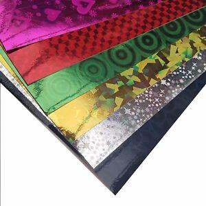 10 x A4 lucido carta olografica Peel & Stick fogli appiccicoso Sostenuto Cardmaking