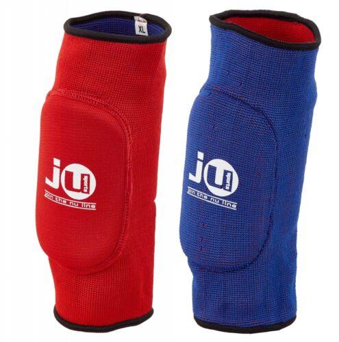 Ju-Sports- Wende-Ellenbogenschoner rot//blau Stoff Muay Thai MMA Training.