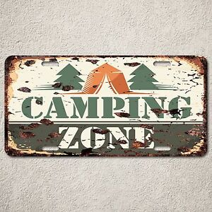 LP0104-Camping-Zone-Sign-Auto-License-Plate-Rust-Vintage-Home-Room-Store-Decor