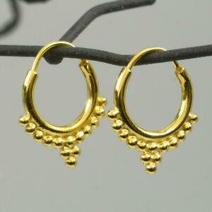 Pair-18K-Gold-Vermeil-over-Sterling-Silver-Creole-Earring-0-85g-Bali-Granulation