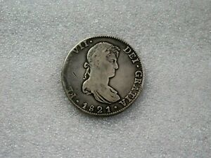 1821 Mo J.J Mexico War Of Independence  Silver 8 Reales Pillar Dollar Coin F-VF