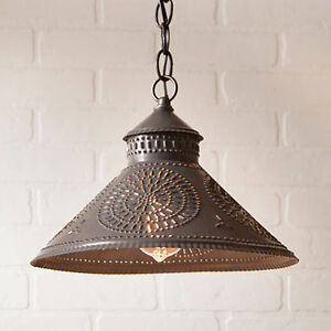 Details About Stockbridge Shade Light In Black Tin W Chisel Country Kitchen Lighting