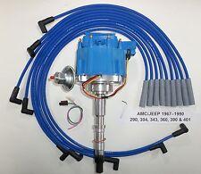AMC/JEEP 1967-90 290,304,343,360,390,401 HEI DISTRIBUTOR & BLUE Spark Plug Wires