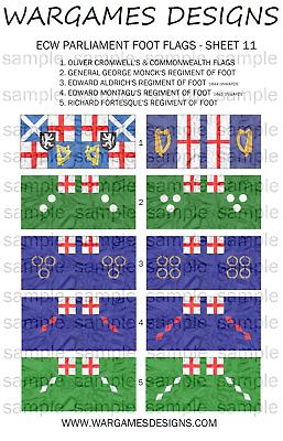 Pike /& Shotte FOG 15mm ECW Parliament Foot Flags Sheet 2 DBR WECW Baroque