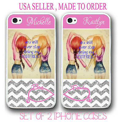 PERSONALIZED PHOTO PINK SILVER CHEVRON BEST FRIEND CASE FOR iPhone 6S 6 5S  5C SE b57cbc48532ae