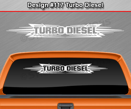 #117 TURBO DIESEL Windshield Decal Window Sticker Graphic Tribal Scallop Truck