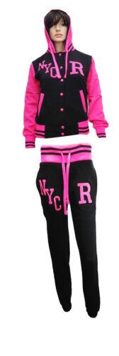 Womens Ladies NYC Varsity Baseball Hoodie Hood Jacket Top Jogger Pant Tracksuit