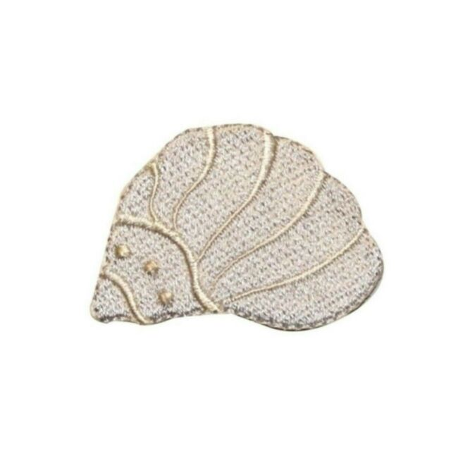 IRON ON PATCH APPLIQUE SEA SHELL blue
