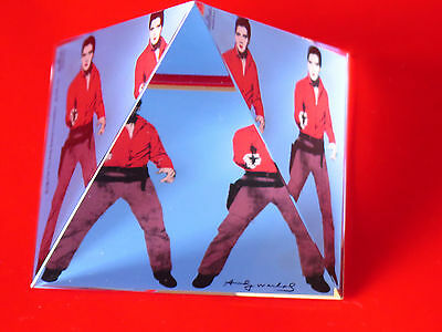 Andy Warhol Elvis triple Elvis Poster Kunstdruck im Alu Rahmen schwarz 36x28cm