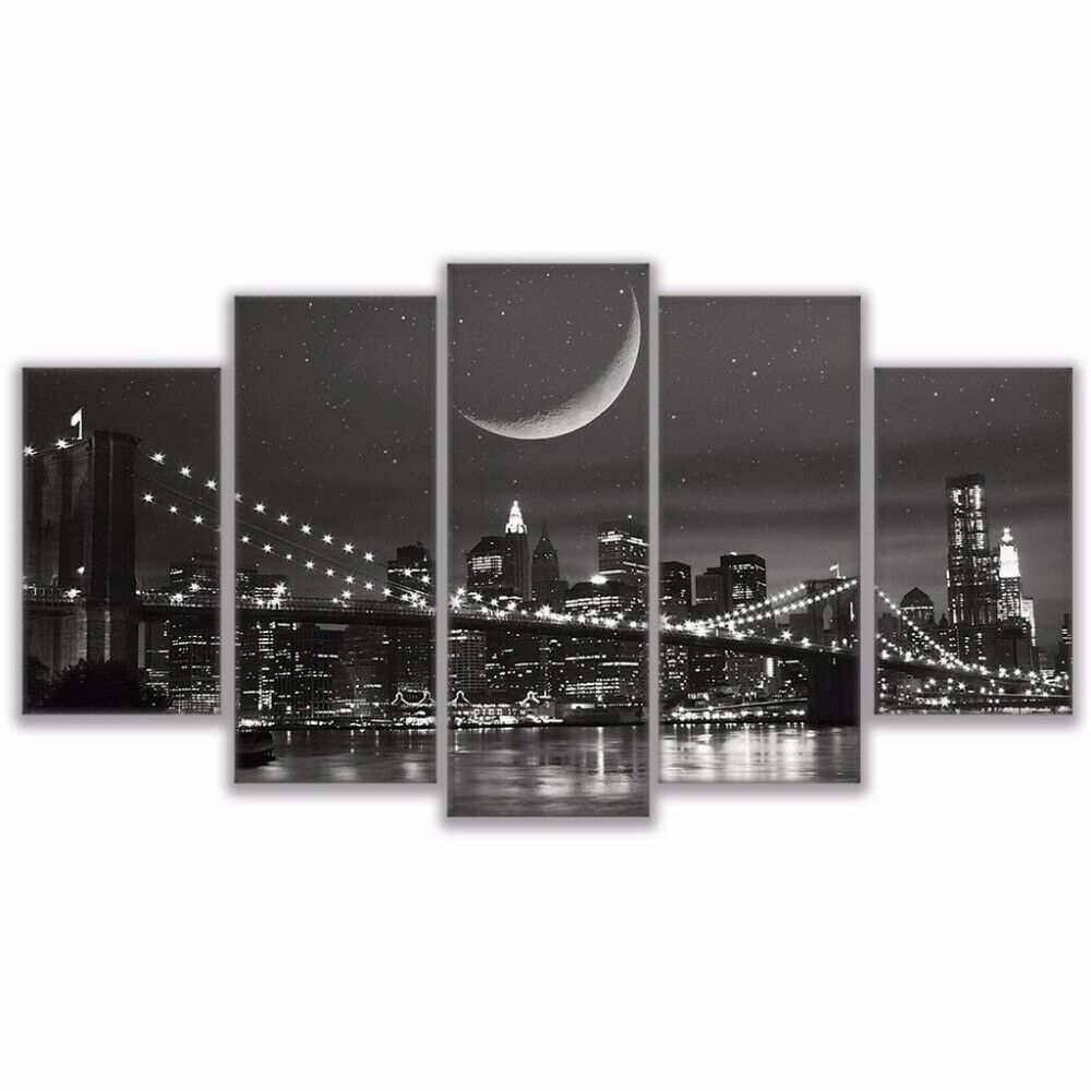 Brooklyn Bridge Night 5 Pieces Canvas Wall Room Home Decorating Poster Picture