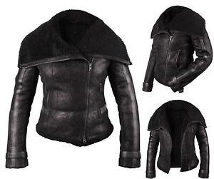 Biker Black Sheepskin Jacket Vintage Womens Genuine Shearling Brandsllock Leather zpxqwP8AxE