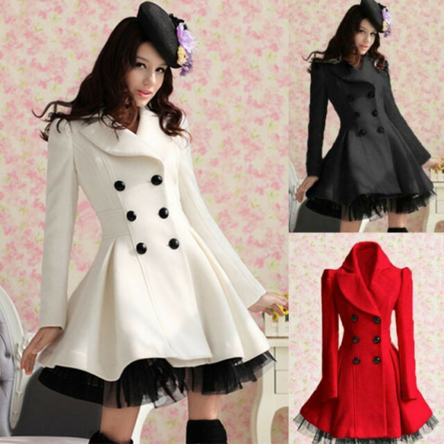 Very Feminine WOOLEN Double Breasted Pleated COAT w. Lace Hem