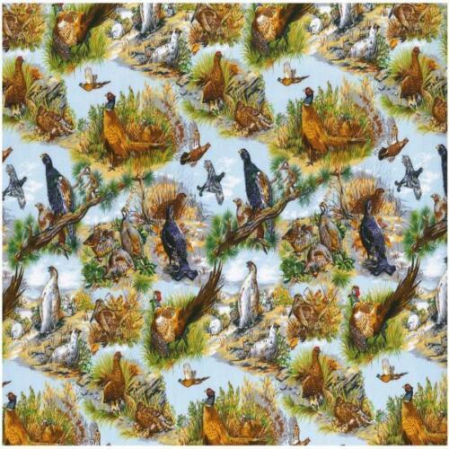 Fat Quarter Game Birds Cotton Quilting Fabric Nutex 10960