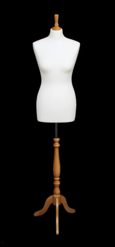 DELUXE Size 12 Female Dressmakers Dummy Mannequin Tailor WHITE Bust Beech Stand