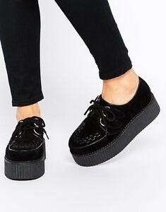 Truffle New Black Faux Suede Hi Creepers Ladies Vegan Shoes Punk Rock Dre1