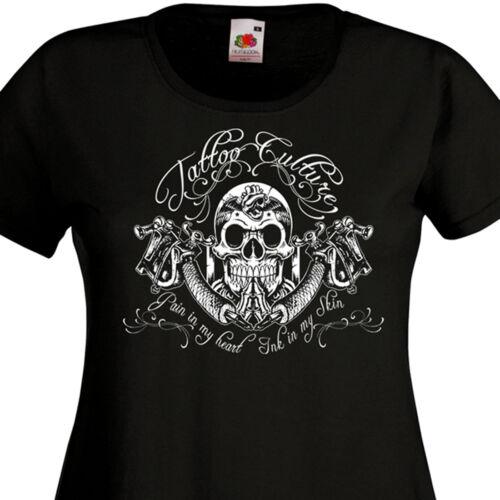 Tee Shirt femme TATTOO CULTURE Calavera Tatouage Skull Old School dermographe