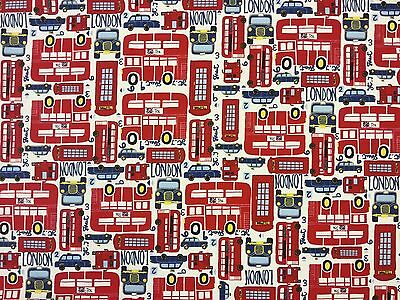 LONDON CITY RED A20 100% COTTON CURTAIN DRESSMAKING CHILDRENS FABRIC BUSES TAXIS