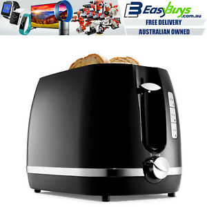 Toaster-2-Slice-Electric-Black-amp-Silver-with-Warming-Rack-Crumb-Tray-Toast-Slot
