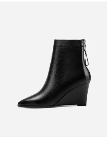 Femmes Bottines en cuir à Talon Haut Compensé Bout Pointu Chaussures De Loisirs Fermeture Éclair Arrière